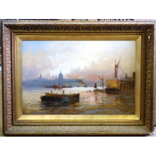 566 - G (or J?) Hayes, a 19th Century gilt framed and glazed Study of the Thames, London with boats, build...