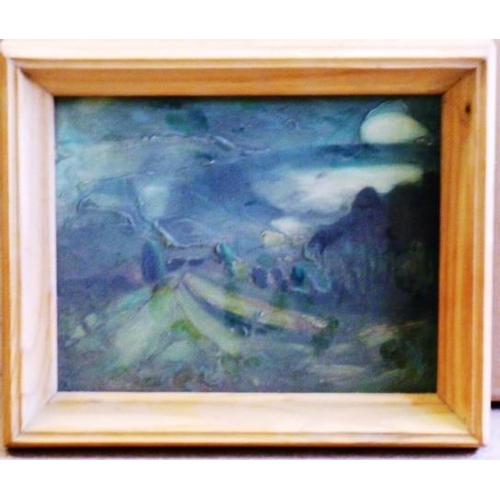 568 - * Pegeen Taylor, a framed Oil and Acrylic on Artist's Board, ''Winter Landscape'', 19.5cm x 24.5cm, ...