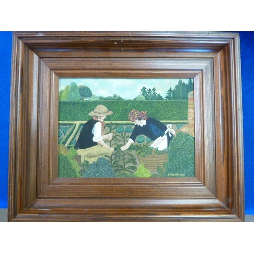572 - * Shirley Smithers, a framed Oil on Canvas ''Gathering Herbs'', signed S Smithers lower right, 14cm ...