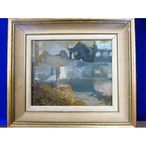 573 - * Kathleen Mary Crow, a framed Oil on Board ''Disused Mine'', monogrammed lower right, 15.5cm x 19cm...
