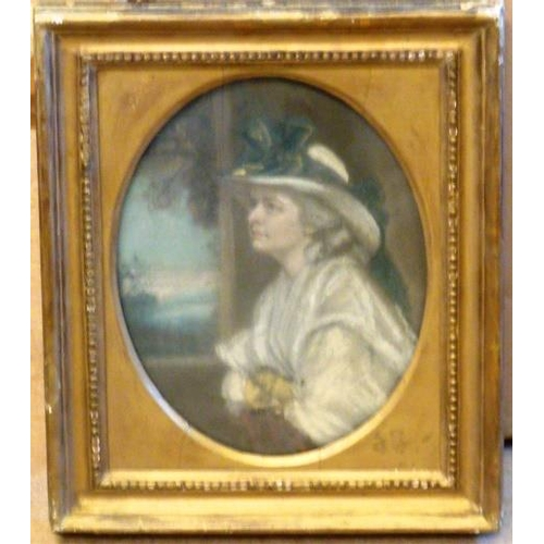 575 - A 19th Century gilt framed oval half length Pastel Portrait Study of Mrs Charles Baker, annotated ve...