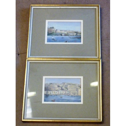 576 - A pair of gilt framed and glazed (later) Watercolour Studies of Italianate style scenes (possibly Ve...