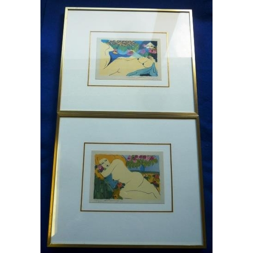 578 - A pair of gilt framed and glazed colour Prints, female nudes in surrealist style informational label...