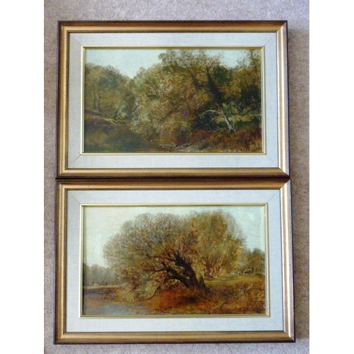579 - A pair of 19th Century framed (later) Oil on Canvas Studies one titled verso ''On Leigh Brook'' by H...