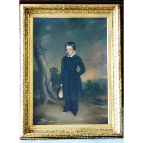 582 - A 19th Century gilt framed and glazed full length Oil on Canvas Portrait Study ''Allen Edward Everit...