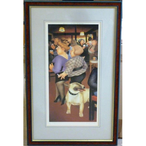 583 - * A framed and glazed colour Beryl Cook Print published by Alexander Gallery, Bristol, pub interior ...