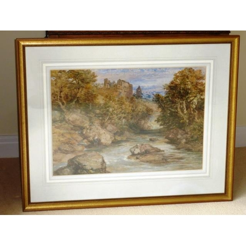 589 - A gilt framed and glazed (later) late 19th/early 20th Century Watercolour Study, castle ruins on a h...