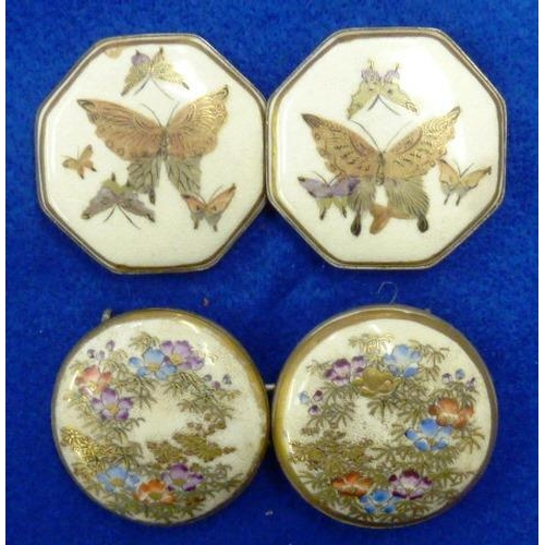 59 - An early 20th Century Japanese Satsuma two-part ceramic double hexagonal Buckle gilded and decorated...