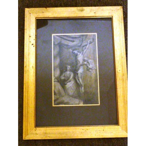 592 - A gilt framed and glazed (later) Old Master style En Grisaille Study of The Crucifixion, 20cm x 12cm...