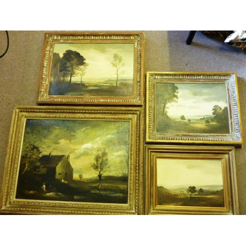 594 - * P H (Philip Hugh) Padwick (1876-1958), four gilt framed Oil on Canvas laid onto Board countryside ...