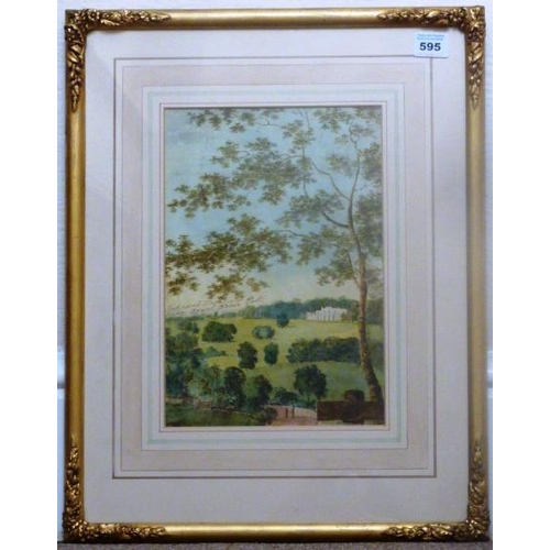 595 - A gilt framed and glazed (later) early 19th Century Watercolour Sketch, working drawing for Architec...