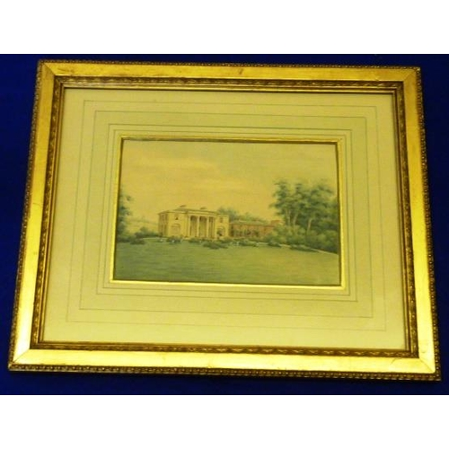 597 - A gilt framed and glazed Watercolour Study of Diggeswell House, Hertfordshire, 19th Century, paper G...
