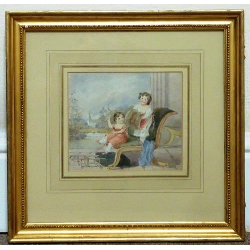 598 - A gilt framed and glazed early 19th Century Watercolour (on watermarked paper) Study of children at ...