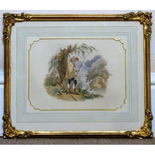 599 - A gilt framed and glazed early/mid 19th Century Watercolour Study of a young boy fishing, behind him...