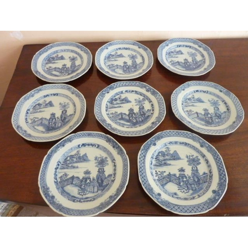 6 - A set of eight late 18th Century Chinese Exportware blue and white porcelain Plates, each hand decor...