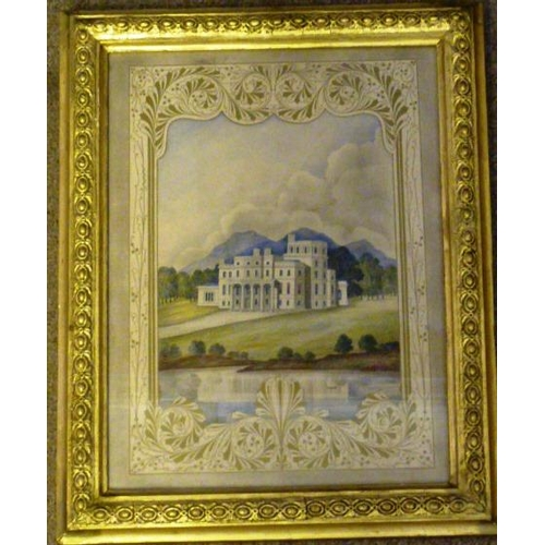 600 - A gilt framed and glazed mid 19th Century Watercolour Study of a very grand country house before wat...