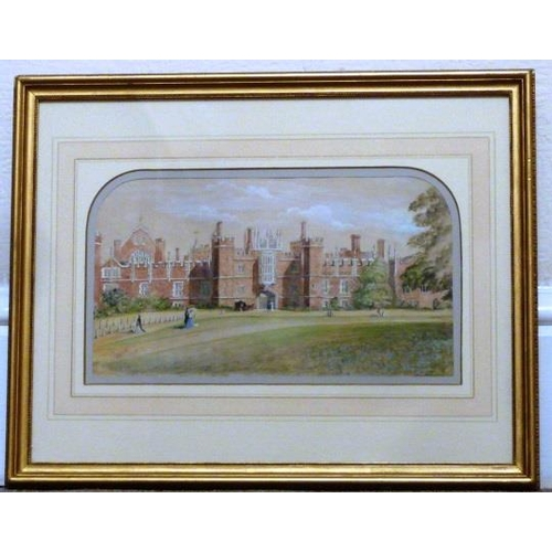 601 - A gilt framed and glazed 19th Century Watercolour Study of Hampton Court, paper Gallery label verso,...