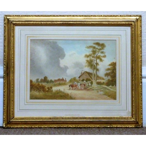 602 - A gilt framed and glazed early 19th Century Watercolour Study (some foxing), the paper gallery label...