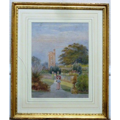 603 - A gilt framed and glazed mid 19th Century Watercolour Study of a lone female figure in long skirt an...