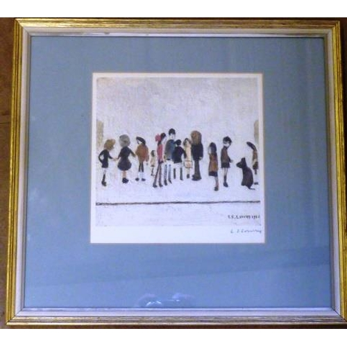 606 - * Laurence Stephen LOWRY (1887 - 1976), a framed and glazed colour print, 'Group of Children', Fine ...