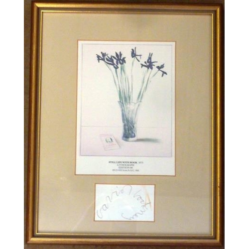 607 - * A small gilt framed and glazed colour Print ''Still Life With Book'' original Lithographic issue 1...