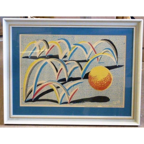 608 - * A framed and glazed colour Print after David Hockney ''A Bounce for Bradford'', the Print with cen...