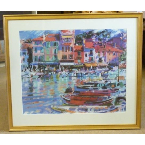 610 - * A large gilt framed and glazed colour Print ''Cassis Vista'' by Peter Graham, 52cm x 64cm...