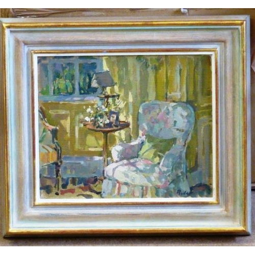 611 - * A 20th Century modern framed Oil on Canvas impressionist style Study ''Sunlit Chair'' by Susan Ryd...