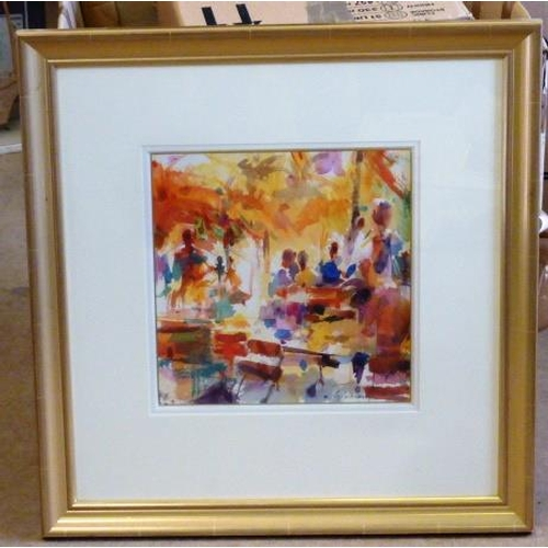 613 - * A gilt framed and glazed Watercolour Study ''Autumn, Tuileries'', gallery labels verso, signed low...