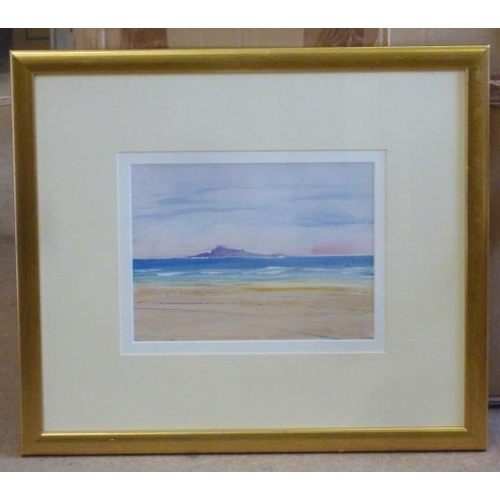 614 - * An original gilt framed and glazed Oil on Board Study ''Lindisfarne from Ross Back Sands'' by Dona...