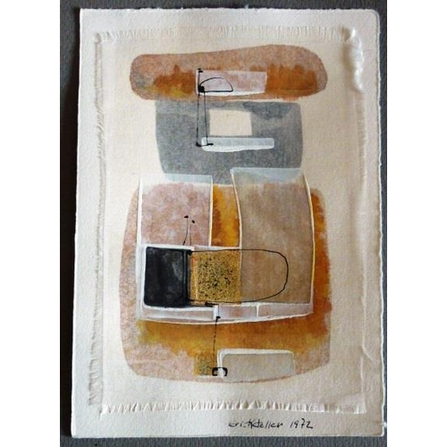 618 - * Erich Keller, (1919), an unframed Mixed Media Abstract on Silk, mounted onto card signed and dated...