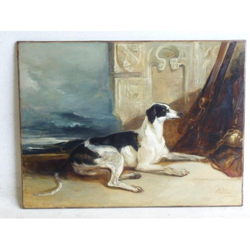 619 - A large 19th Century unframed Oil on Canvas Study of a recumbent greyhound before a carved stone wal...
