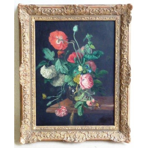 620 - A gilt framed Oil on Canvas still life Study of flowers in a glass goblet in 17th Century Dutch Old ...