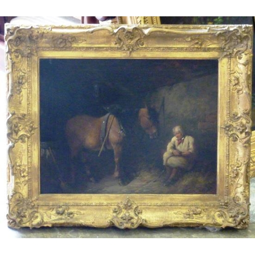 621 - An early/mid 19th Century gilt framed Oil on Canvas Study of a farmer seated within the stable with ...
