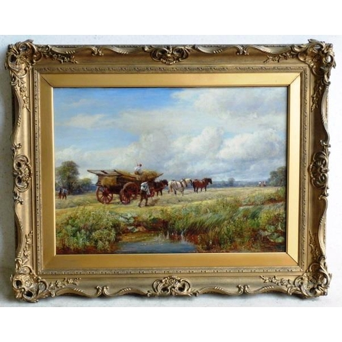 622 - A large 19th Century gilt framed (later) Oil on Canvas countryside Study haymaking scene with figure...