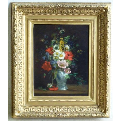 623 - A 19th Century gilt framed Oil on Panel still life Study of various flowers within a blue and white ...