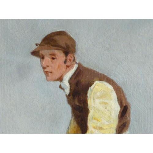 625 - A birds eye maple framed Oil on Artist's Board Study of Fred Archer in full gallop, 38cm x 59cm...
