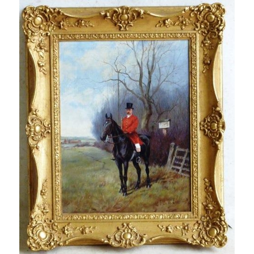 626 - A gilt framed (later) early 20th Century Oil on Canvas Study of a lone huntsman before a five bar ga...
