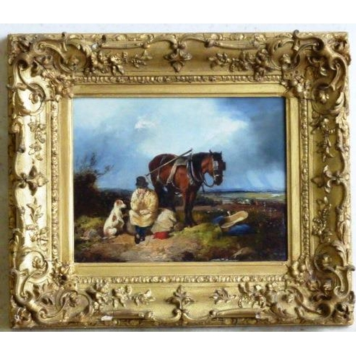 628 - A pair of  gilt framed 19th Century Oil on Canvas Studies, one of a carthorse and rider seated on a ...