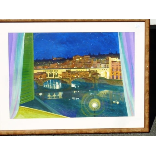 629 - * Edward Mayer (20th Century), a framed and glazed Gouache/Body Colour Italian river scene, moonlit ...