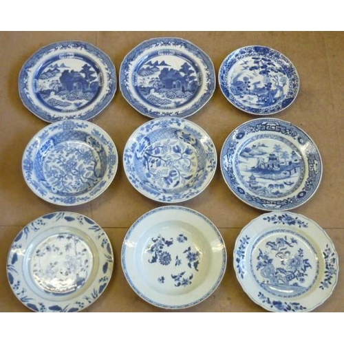 63 - A selection of nine Chinese Exportware Plates/Bowls in varying states and conditions...