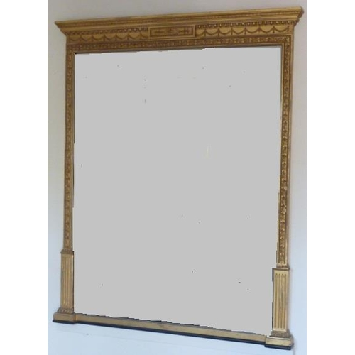 633 - A 19th Century neo-Classical style gilt framed wall hanging Looking Glass, the central horizontal ta...