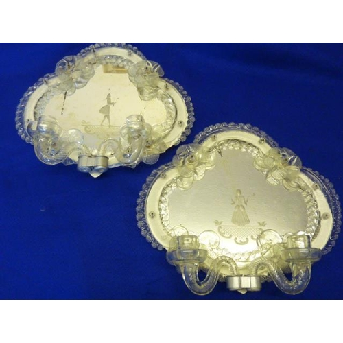 634 - A pair of late 19th/early 20th Century Venetian glass two branch Girandole, the quatrefoil-shaped pl...
