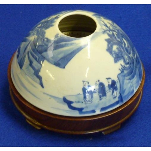 64 - A Chinese porcelain Water Pot of domed form and very finely hand decorated in underglaze blue with f...