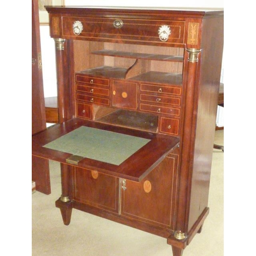 653 - A good early 19th Century Continental mahogany Secretaire a Abattant, the single full width drawer w...