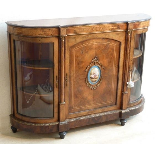 662 - A 19th Century figured walnut, gilt metal mounted and marquetry Credenza, the central Sevres style o...