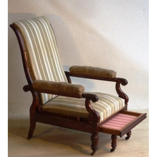 663 - A William IV 19th Century mahogany Library Chair, circa 1835 with reclining back and pull out footre...