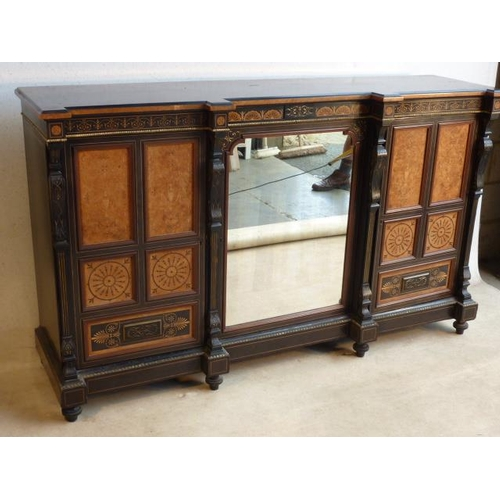 674 - A very fine 19th Century aesthetic movement ebonised walnut, marquetry and gilt metal mounted invert...