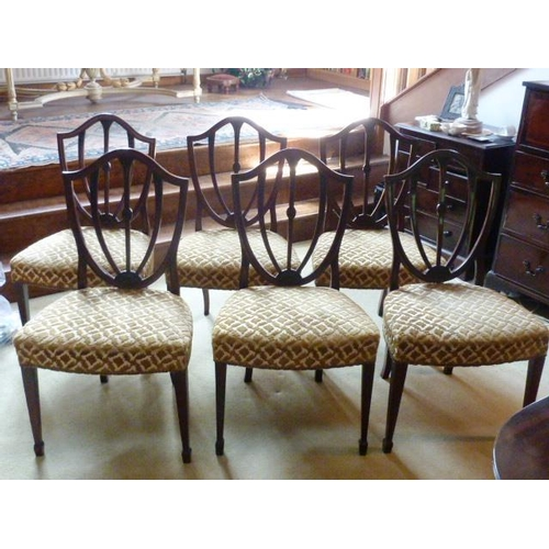 678 - A good set of six Hepplewhite style mahogany and upholstered Dining Chairs, shield shaped pierced ba...
