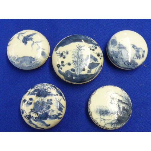 68 - Five 19th Century circular Chinese Pots and Covers, each hand decorated in underglaze blue with vari...